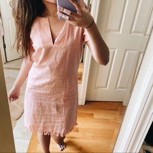 Cupcakes & Cashmere • Coral Linen Fringe Dress